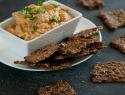 Make these easy homemade flaxseed crackers with creamy vegan cheese dip for a healthy snack