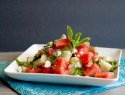 Refreshing watermelon and cucumber salad with feta and mint