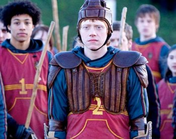 Ron is ready for action in Harry Potter, but Rupert's has the swine flu