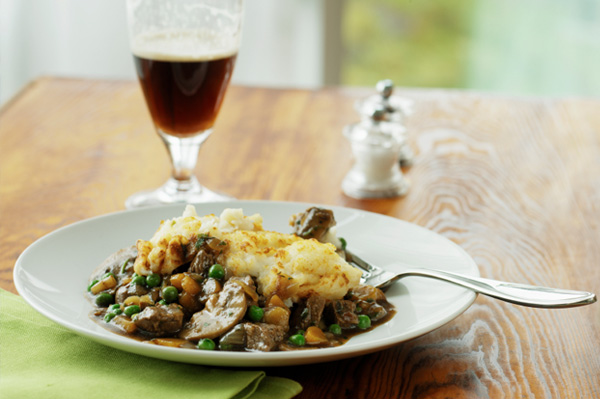Shepards Pie with Glass of Dark Ale