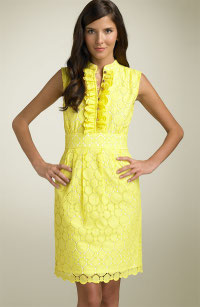 Shoshanna yellow eyelet dress