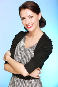 Smiling woman wearing retro dress