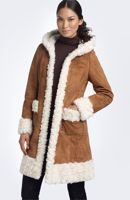 faux shearling hooded coat by Steve Madden