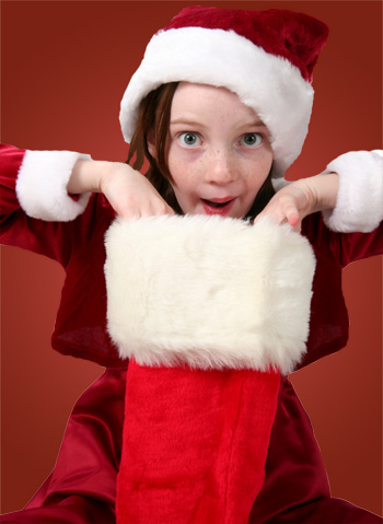Young Girl and Christmas Stocking