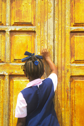 Student Knocking on Door