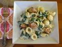 Sunday dinner: Pasta with sausage, spinach and creamy Gorgonzola