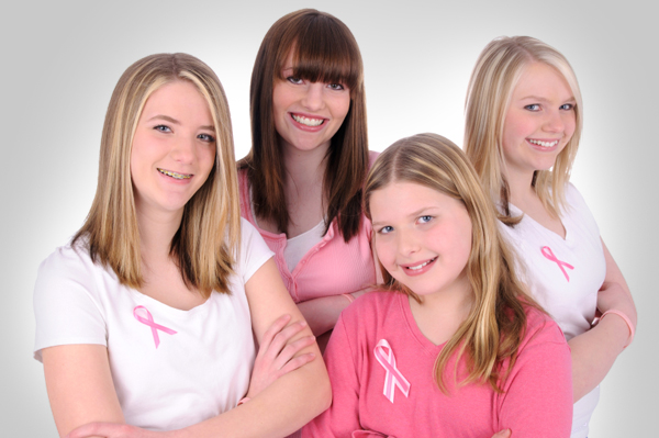 Teen Girls with Pink Ribbons