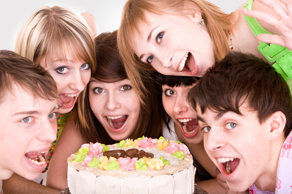 Teens at birthday party