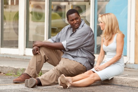 Quinten Aaron and Sandra Bullock in The Blind Side, out November 20