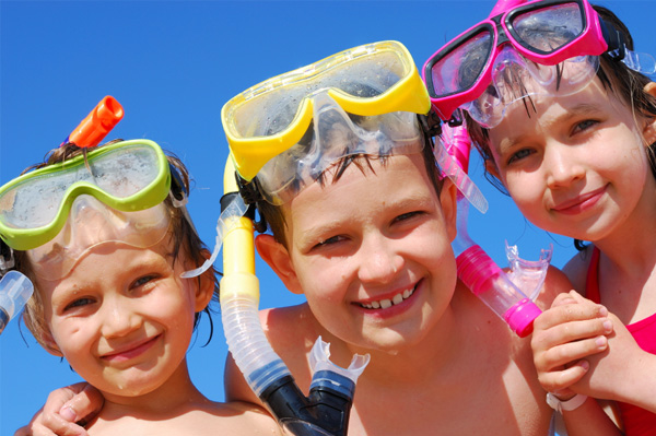 Three Kids Wearing Snorkels