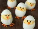 Turn deviled eggs into adorable hatching chicks