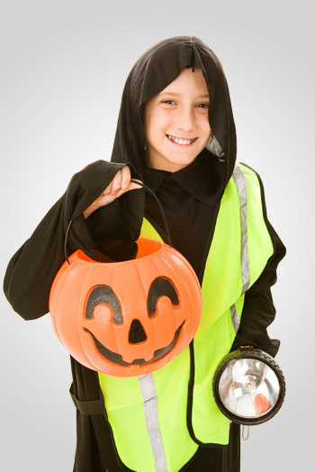 Tween boy in reflective halloween costume