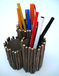 Twig pencil holder