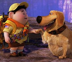 Russell meets Dug the dog in UP
