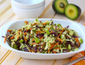 Vegan coleslaw with creamy avocado dressing