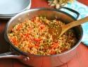 Vegan paella with soy chorizo