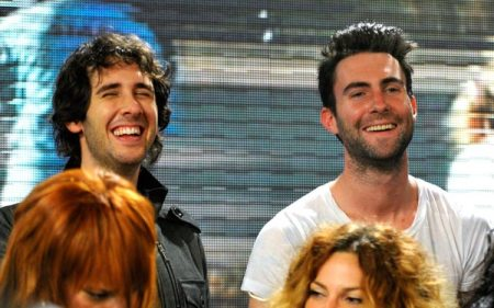 Josh Grobin and Adam Levine at the We Are The World recording