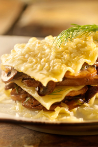 White lasagna with wild mushrooms