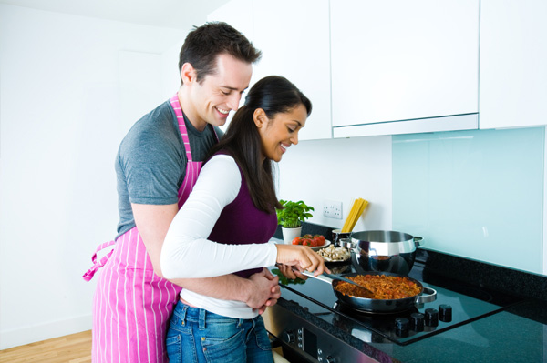 Woman cooking for Valentine's Day