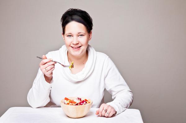 Woman enjoying salad