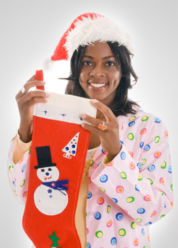 Woman holding homemade christmas stocking