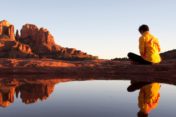 Woman meditating in Sedona