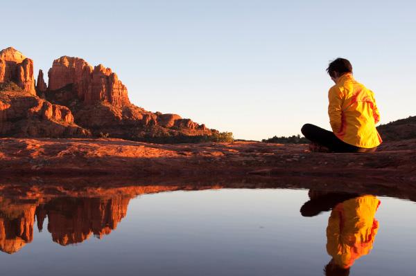 Woman meditating in Sedona