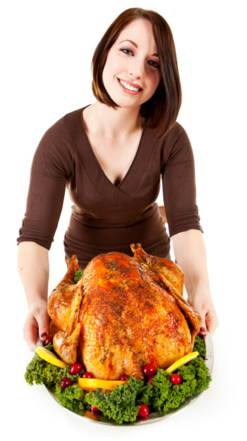 Woman presenting turkey
