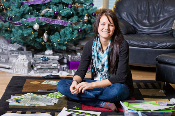 Woman scrapbooking at Christmas