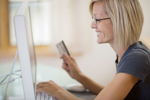 Woman shopping securely online