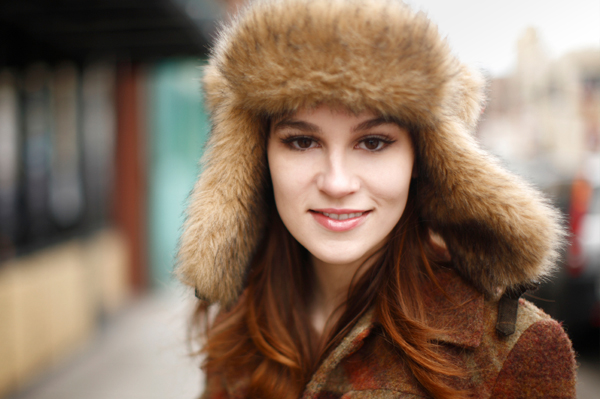Woman wearing trapper hat