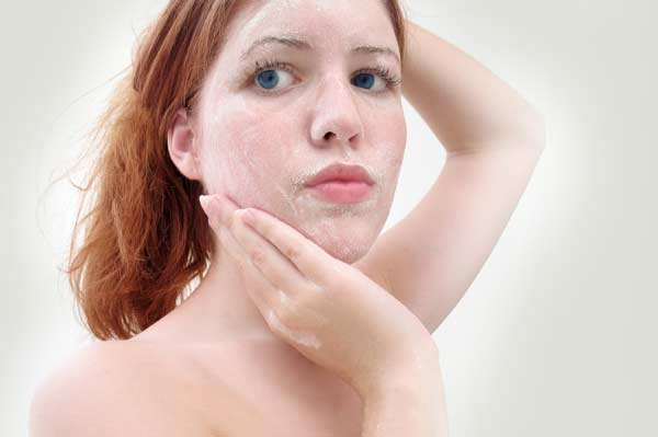 Woman with Facial Scrub