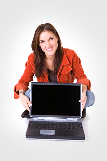 Woman with new laptop