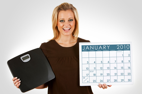 Woman with scale and calendar