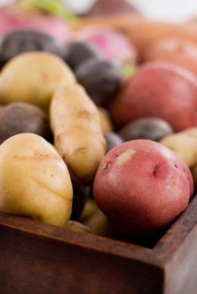 Box of organic potatoes