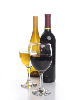 Two wine bottles with wine glasses