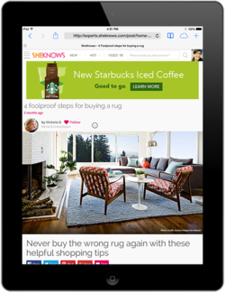 iPad displaying SheKnows homepage