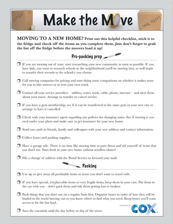 Printable moving checklist for Building new home checklist