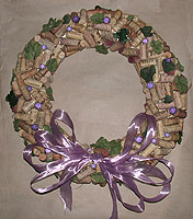 wine cork wreaths, bows, ribbons