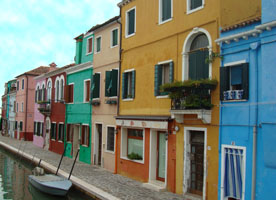 the brightly colored buildings of Burano, Italy