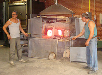 glass blowers in Murano, italy