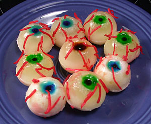 Pina Colada Gelatin Shot Eyeballs for Halloween
