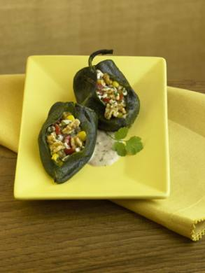 Corn and Mushroom Stuffed Chiles Rellenos with Creamy Walnut Sauce