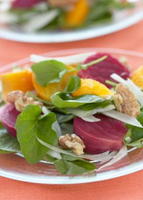 Tangy Roasted Beet and Walnut Salad