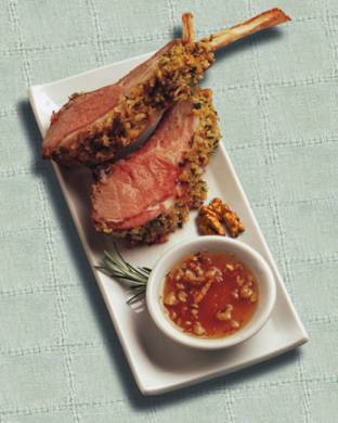 Petit Walnut Coated Lamb Chops with Honey Dipping Sauce