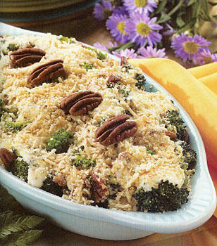 Holly Clegg's Broccoli and Pecans with Creamy Horseradish Sauce