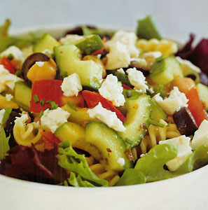 The Poor Chef's Mediterranean Chickpea Pasta Salad