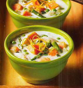 Spring Chicken Chowder with Asparagus and Peas