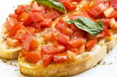 Tomato shallot bruschetta