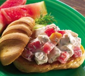Chicken Salad with Watermelon and Peaches